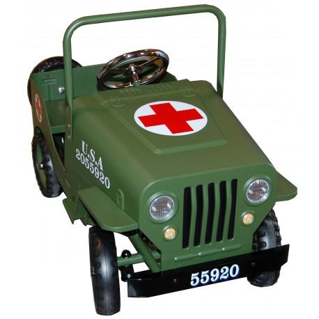 Voiture à pédales métal Jeep Croix Rouge kaki
