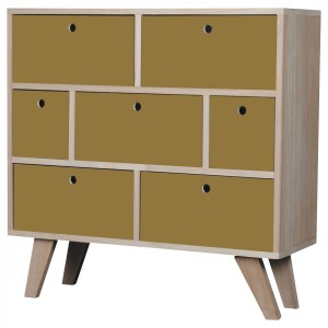 Commode Vik scandinave miel 7 tiroirs