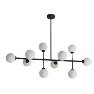 Suspension/plafonnier design noire aux 10 globes en verre blanc opalin