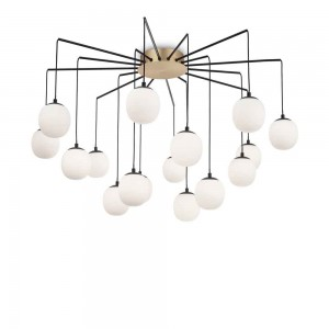 Suspension ronde Rhapsody Ideal Lux dotée de 16 globes blancs