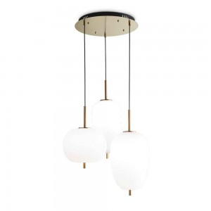 Suspension ronde Umile Ideal Lux dotée de 3 globes blancs