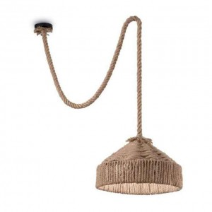 Suspension ronde Canapa Ø41 Ideal Lux en chanvre naturel taupe