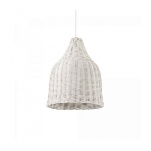 Suspension ronde Haunt blanche Ideal Lux en osier naturel tréssé Ø35cm