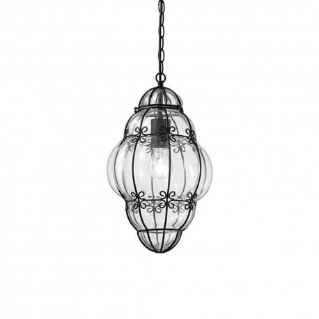 Suspension ronde Anfora Ideal Lux artisanale en métal noir et verre