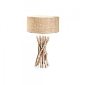 Lampe Driftwood Ideal Lux en bois flotté et abat-jour beige