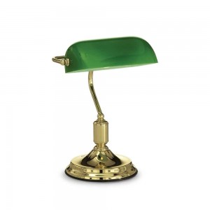 Lampe de bureau Lawyer Ideal Lux metal finition laiton diffuseur vert