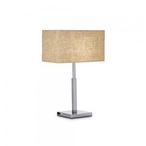 Lampe de table en métal chromé et abat-jour en tissu beige