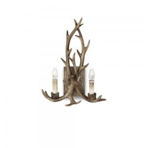 Applique Chalet Ideal Lux au design de bois de cerfs en résine