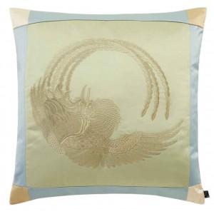 Luxueux coussin carré en satin brodé naturel Phoenix K3 by Kenzo Takada