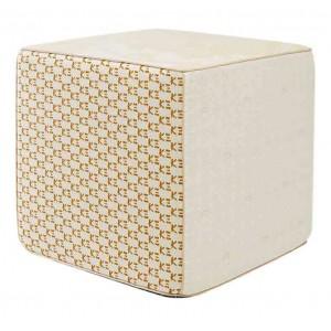 Pouf cube Pivoine ivoire en patchwork K3 design by Kenzo Takada