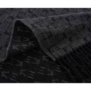 Plaid frangé Koko en laine et cachemire noir K3 by Kenzo Takada
