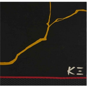 Plaid carré léger noir Kat en viscose et laine K3 by Kenzo Takada