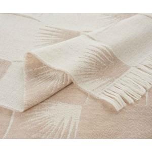 Plaid Edeum en laine beige et blanc réversible K3 by Kenzo Takada