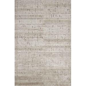 Tapis Glyphe Silver en soie aux motifs en creux Toulemonde Bochart