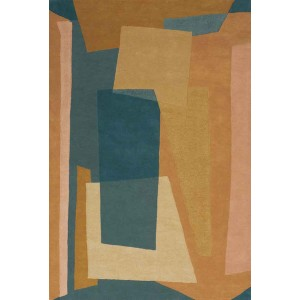 Tapis Pablo cubiste à la palette beiges et bleu Toulemonde Bochart