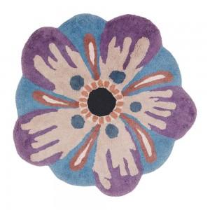 Tapis de bain Aretha bleu épais rond fleur en coton Missoni Home