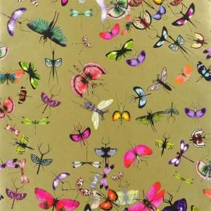 Papier Peint Mariposa Or motifs insectes Christian Lacroix