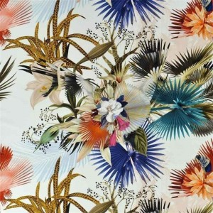 Tissu Oiseau de Bengale Camélia au motif floral Christian Lacroix