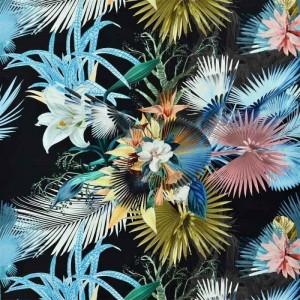 Tissu Oiseau de Bengale Marais au motif floral Christian Lacroix