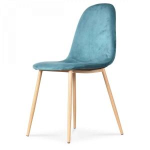 Chaise velours bleu canard pieds métal façon bois Birgit