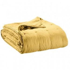 Jeté de lit en lin jaune finition points de broderie Vivaraise