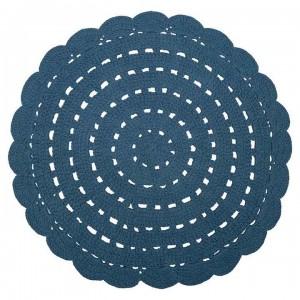 Tapis enfant rond bleu en coton crocheté Alma Nattiot D 120 cm