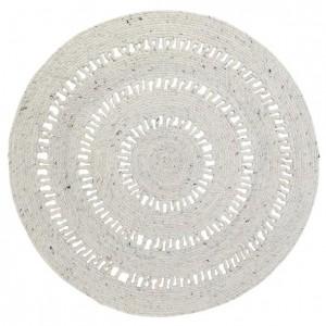 Tapis rond Bibek naturel en laine et coton et crocheté Nattiot