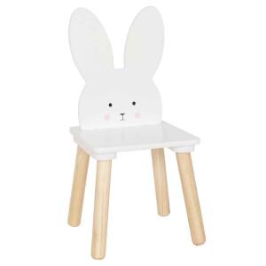 Chaise lapin blanche en bois enfant JaBaDaBaDo au dossier petit lapin