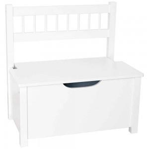 Banc coffre blanc en bois 46,5 x 33 x 55,5 cm, JaBaDaBaDo