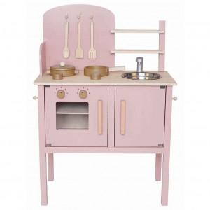 Cuisinière rose en bois complète avec ustensiles de cuisine, JaBaDaBaDo