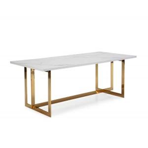 Table repas rectangulaire en marbre blanc et piètement doré 200cm,Thai Natura