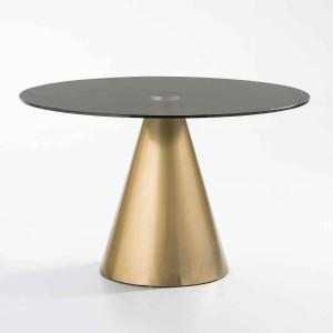 Table repas ronde plateau en verre gris et piètement acier brossé doré,Thai Natura