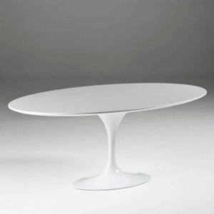 Table repas ovale blanche design en bois et métal 200 cm,Thai Natura