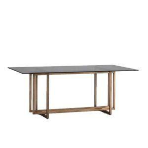 Table repas rectangulaire en verre fumé et piètement bronze 190cm,Thai Natura