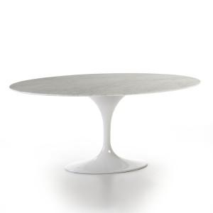 Table de repas ovale en marbre blanc et piètement en métal blanc 150, 170 ou 200 cm,Thai Natura