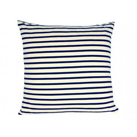 Coussin carré marinière à rayures bleu et écru 60 x 60 cm Jean Paul GaultierMaison